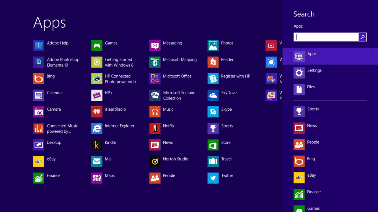 Windows 8 All App Screen