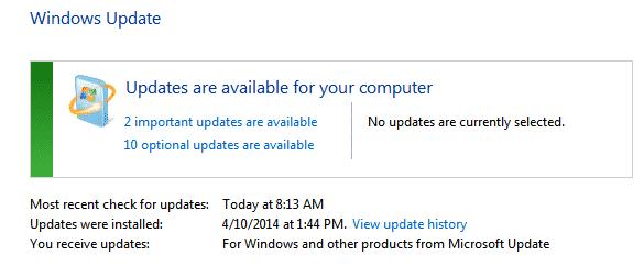 Windows 7 - Windows Update available