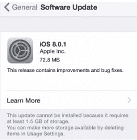 iOS8.0.1 update screen