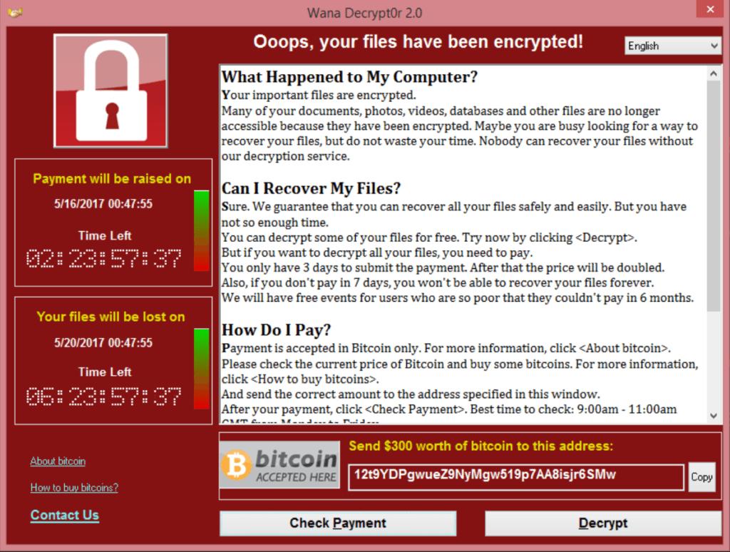 WannaCry Ransomware Screen