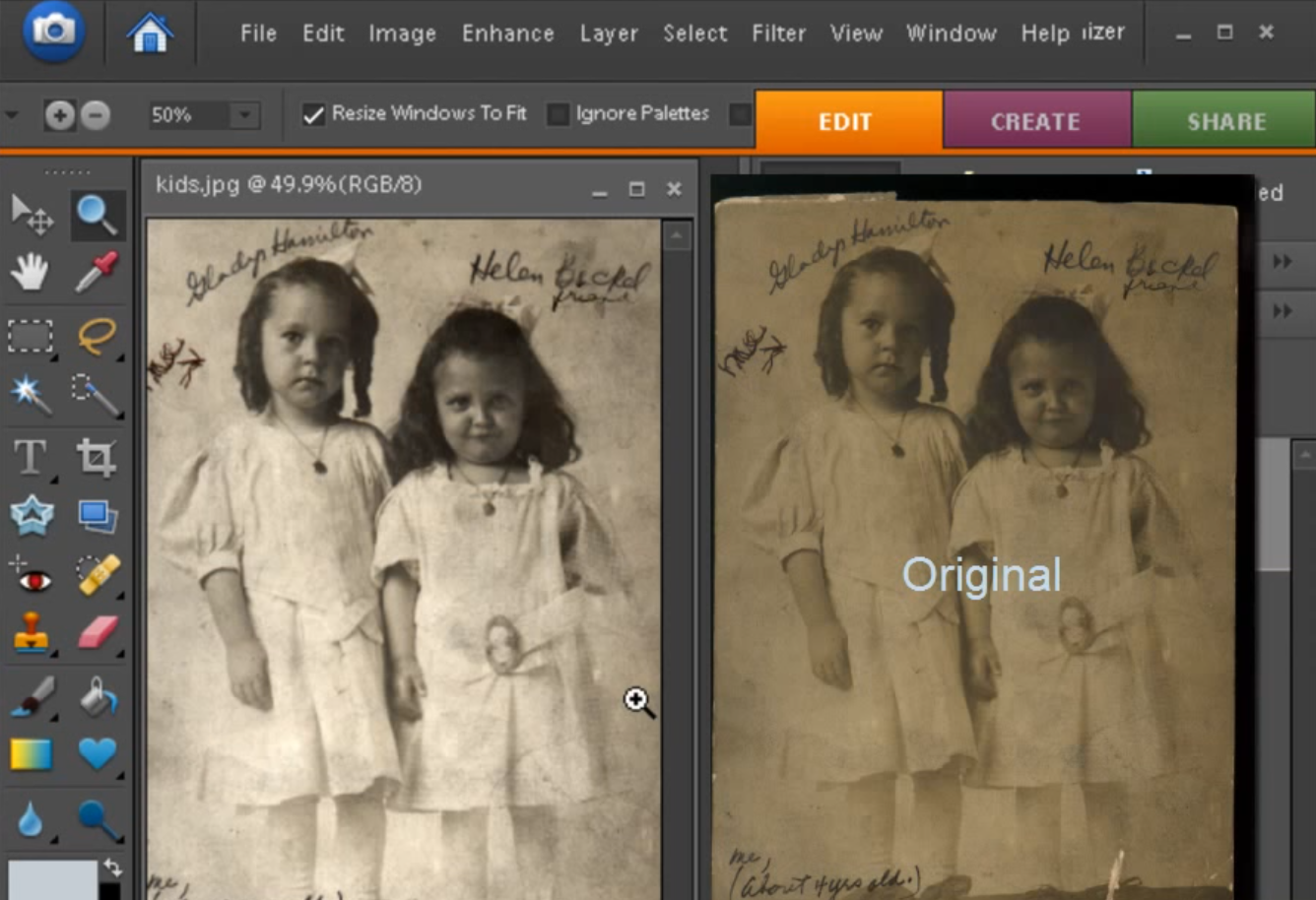 Fixing an Old Picture with Photoshop Elements