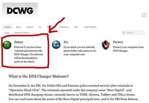 DCWG Screen Shot - DNS Changer Malware Detection