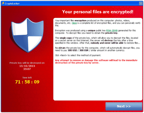CryptoLocker Ransom Page