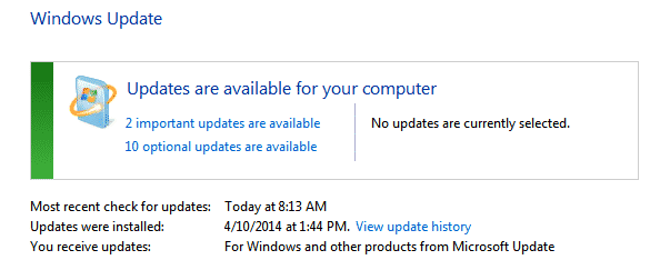 Windows 7 - Windows Update available