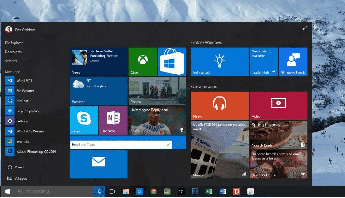 Win 10 - Start Menu on Desktop01