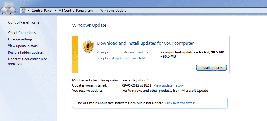 Windows 7 Update Screen